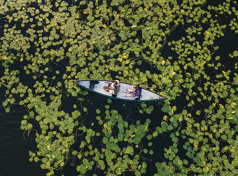 Aerial View Of A Couple Canoeing On The Lake