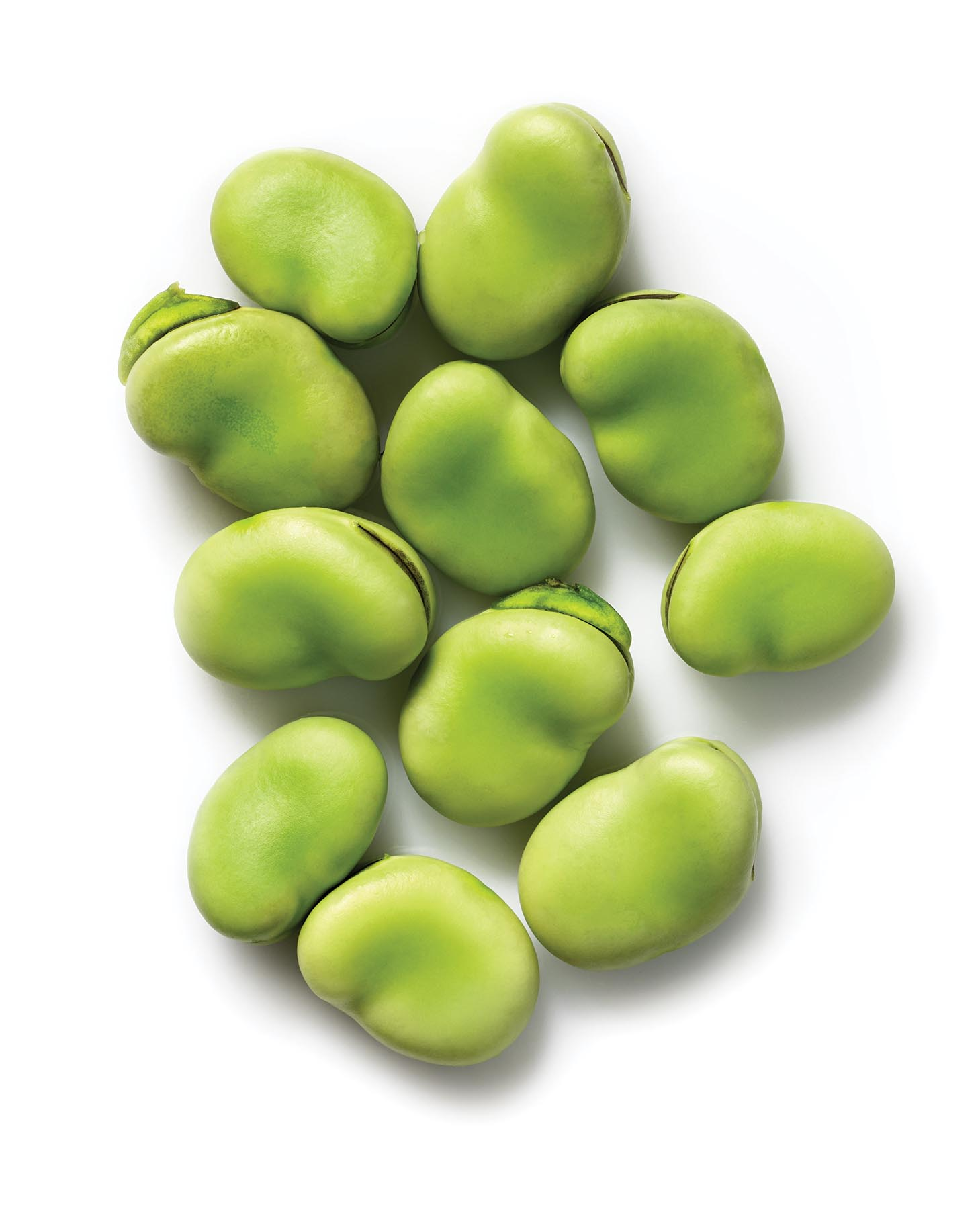 Close Up Top View Of Fresh Green Broad Beans Isolated On White Background